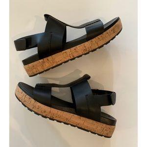 Sigerson Morrison Cork Platform Black Sandal, 8